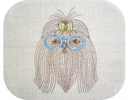 Motif de broderie machine shih tzu avec ses lunettes
