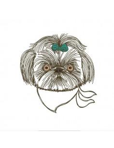 Instant download machine embroidery  dog shih tzu with his bandana