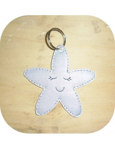 machine embroidery design starfish keychain ith