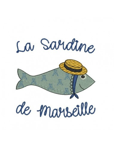 Instant download machine embroidery  Breton sardine