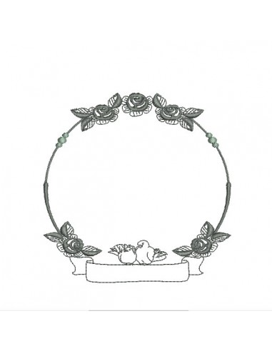 Embroidery design wedding frame