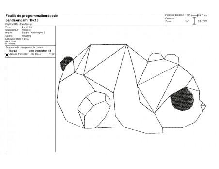 Motif de broderie machine panda origami