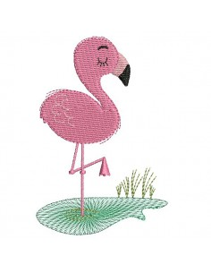 Instant download machine embroidery design baby flamingo