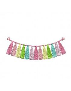 Embroidery design tassel garland