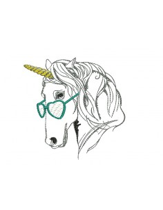 Instant download machine embroidery  unicorn with his glasses