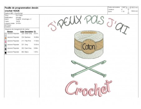Motif de broderie machine crochet