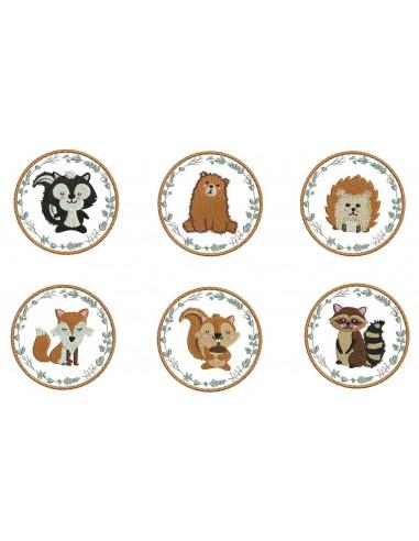 Motif de broderie machine série animaux