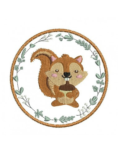 Motif de broderie machine  écureuil