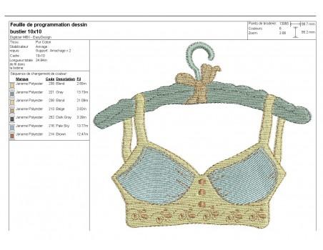 Instant download machine embroidery design  retro lingerie