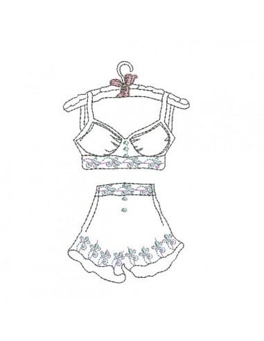 Motif de broderie machine  lingerie rétro redwork