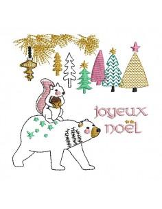 Motif de broderie machine ours de noël avec un écureuil