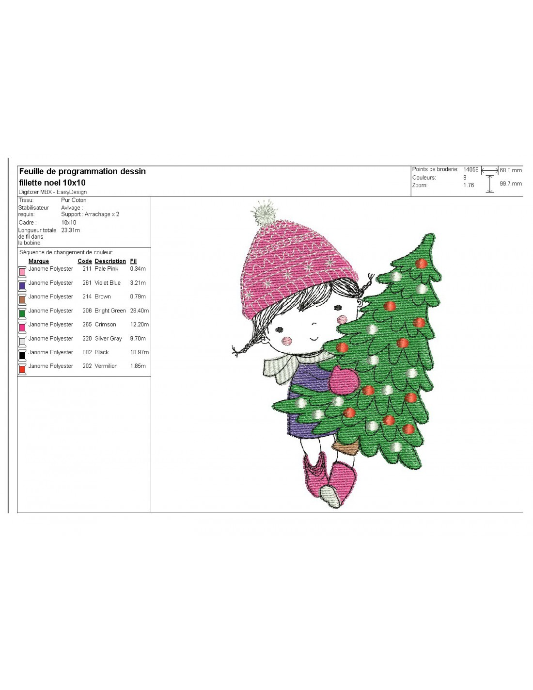 Little Girl Christmas Tree: Embroidery Design Little Girl With Christmas Tree