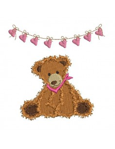 Instant download machine embroidery teddy bear with garland little hearts