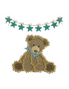 Instant download machine embroidery teddy bear with garland little stars