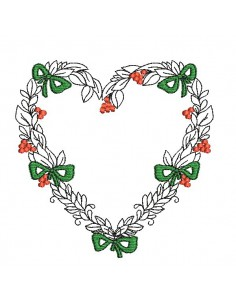 embroidery design christmas heart frame