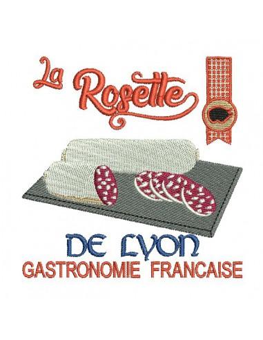 Motif de broderie machine rosette de Lyon