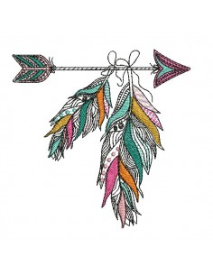 Embroidery design feather dream catcher