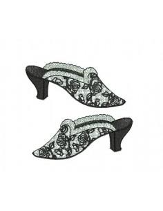 Motif de broderie chaussures rétro