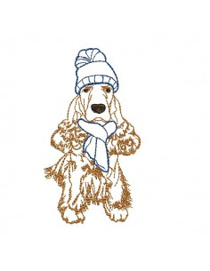 Instant download machine embroidery  dog cocker spaniel with hat and scarf