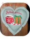 Motif de broderie machine tasse à café avec cookies