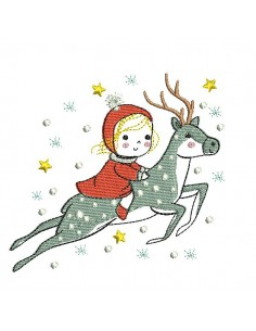 Instant download machine embroidery design little girl on a reindeer