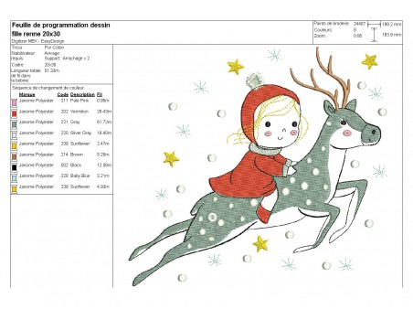Instant download machine embroidery design little girl with Christmas tree