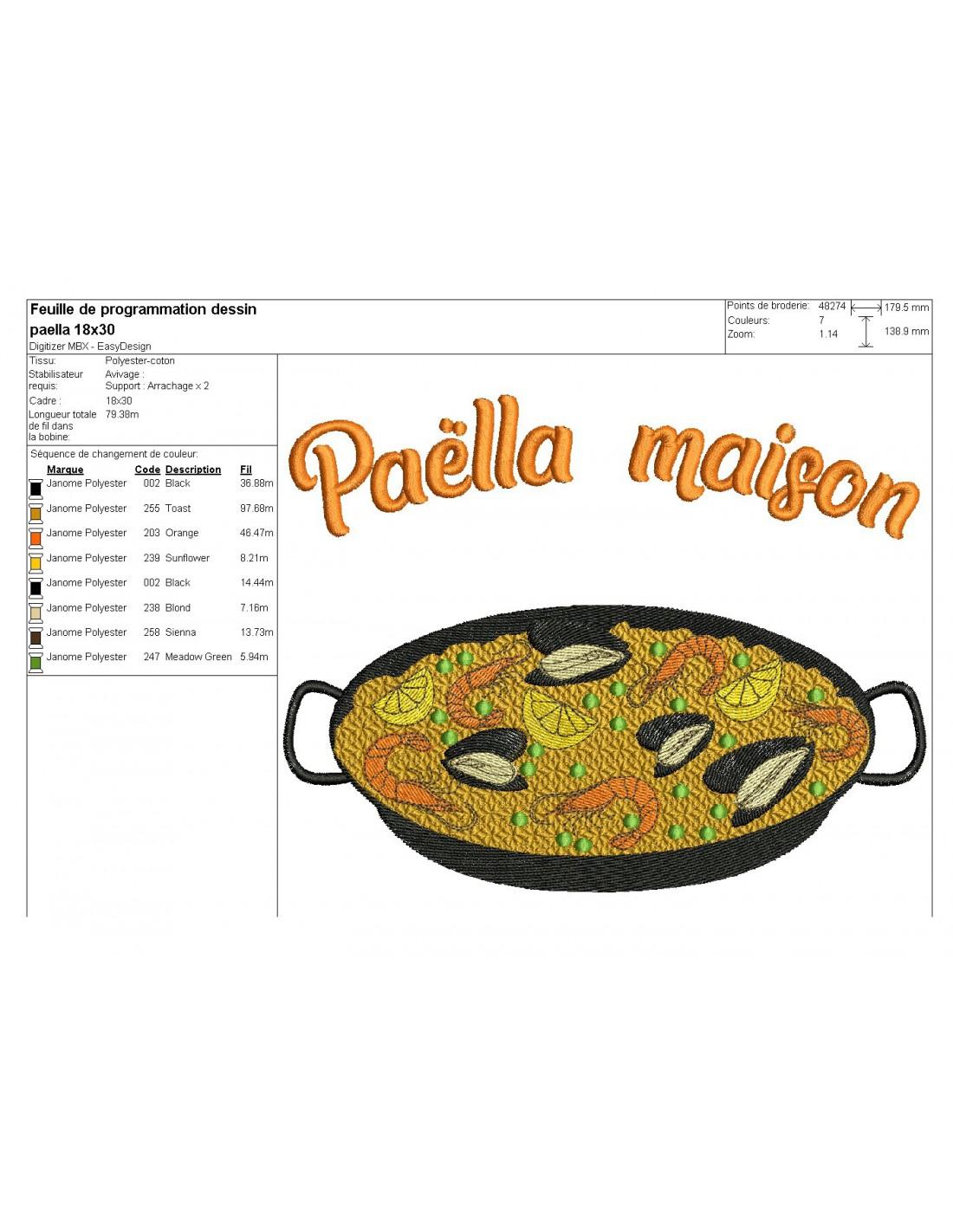 Dessin Paella embroidery design paella