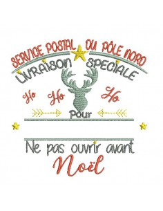 Instant download machine embroidery design delivery of the north pole Santa Claus