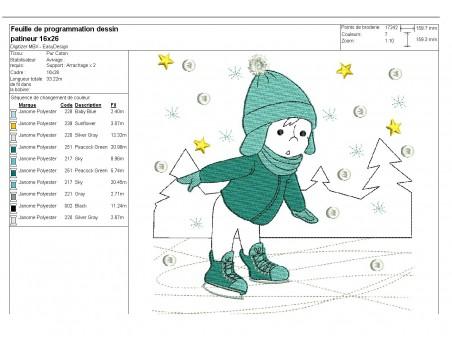 Motif de broderie machine petit patineur