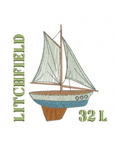 Instant download machine embroidery sailboat N° 32L