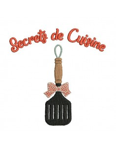 Instant download machine embroidery design family secrets flat spatula