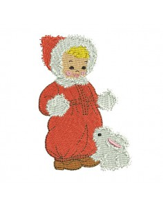 Instant download machine embroidery design baby with a rabbit