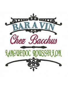 Instant download machine embroidery wine bar