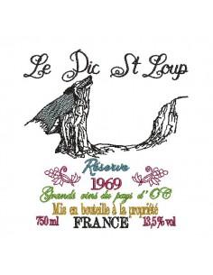 Motif de broderie machine   les vins du Pic St loup