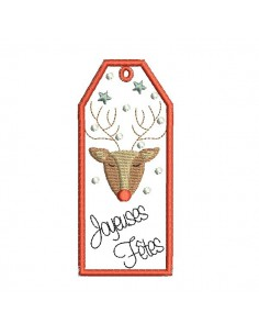 Instant download machine embroidery design Christmas tree label ith