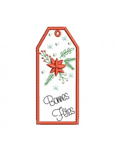 Instant download machine embroidery design Christmas flower  label ith