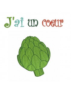 Instant download machine embroidery I am a heart of artichoke