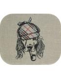 Motif de broderie machine cocker avec sa casquette brodée et sa pipe