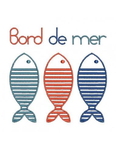 Motif de broderie machine poissons bord de mer