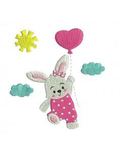Motif de broderie machine  lapine avec son ballon coeur