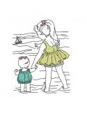 Motif de broderie machine enfants à la mer