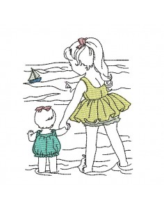 Instant download machine embroidery design vintage children at the beach