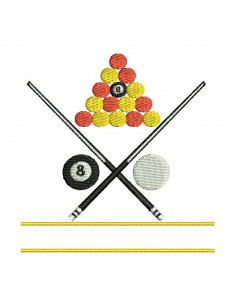 Instant download machine embroidery design billiards 8 pool