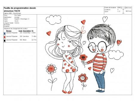 Motif de broderie machine amoureux avec des fleurs