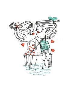 Motif de broderie machine amoureux à la pêche