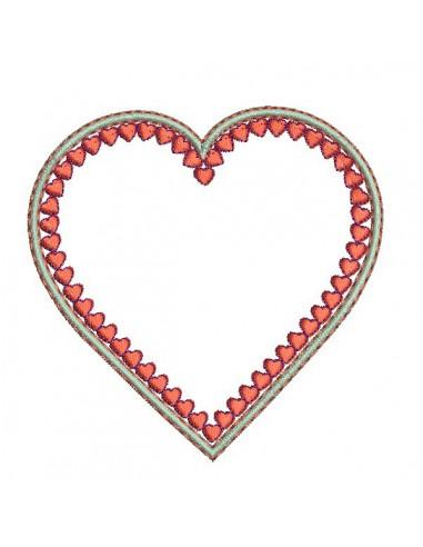 Motif de broderie machine coeur appliqué
