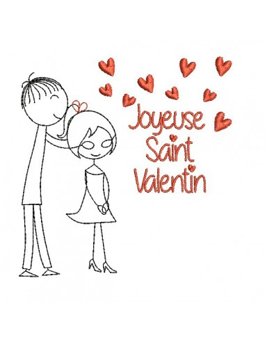 Motif de broderie machine amoureux saint valentin