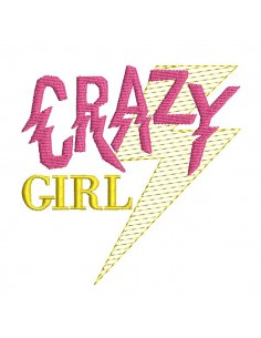 Instant download machine embroidery design crazy girl with mylar