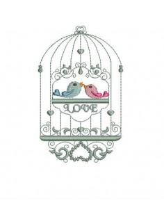 Motif de broderie cage à oiseaux
