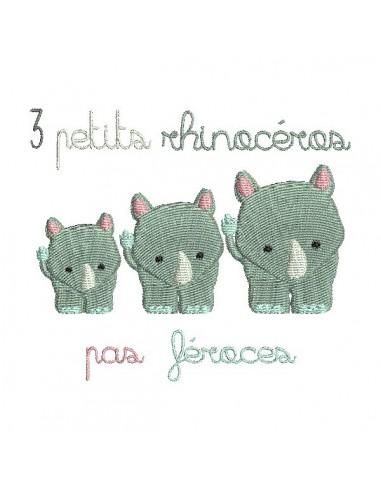 Motif de broderie machine rhinocéros